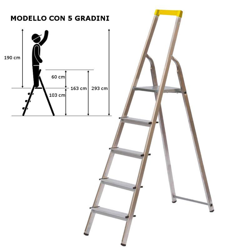 scala in alluminio 5 gradini